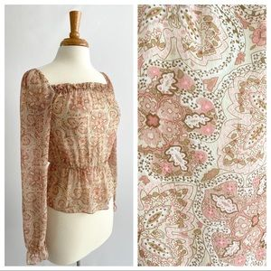 The Limited 100% Silk Pink Paisley Peasant Blouse